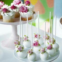 Cakepops, Elegant Cake Pops, Elegant Cakes, Pretty Cakes, Beautiful Cakes, Victorian Cupcakes, Flower Cake Pops, Lollipop Cake, Baby Shower Cake Pops
