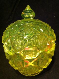 Vaseline glass candy dish by AuntieAnnsEmphorium on Etsy, $32.00. Pretty pretty..