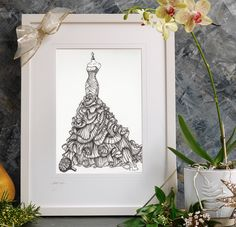 Commission the perfect wedding, anniversary or birthday gift from Wedding Dress Ink and have your illustration delivered to your door. Wedding Dress Drawings, Wedding Dress Illustrations, Custom Wedding Dress, Wedding Dresses, Black Indians, Wedding Dress Shopping, Layered Skirt, Lead Time, Bridal Gifts