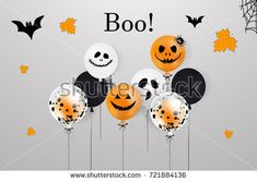 Happy Halloween.  Boo. Holiday design with colorful balloons, falling leaves, halloween flying bats for banner, poster, greeting card, party invitation. vector cartoon illustration.