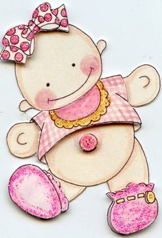 Items similar to Baby Girl Scrapbook or card making embellishment. Scrapbook Bebe, Baby Scrapbook Pages, Baby Shower Labels, Baby Shower Diapers, Baby Painting, Painting For Kids, Baby Cards, Kids Cards, Baby Mini Album