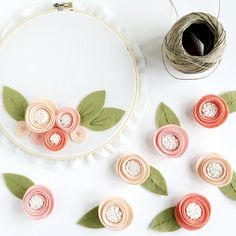 Simple and Sweet Flower Garland  Coral Ombre and White Felt