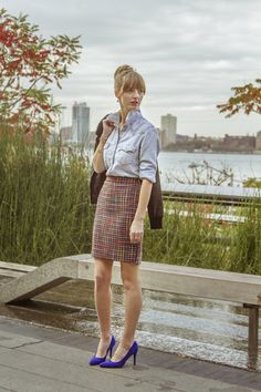 Chambray button up + tweed skirt! Love this combo!