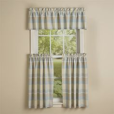 Coastal and beach house colors of cool blues and sandy-dunes gray, this Serena Plaid Table Valance measures 72 x 14 from Park Designs. Farmhouse Curtains, Country Curtains, Plaid Curtains, Valance Curtains, Farmhouse Style Decorating, Farmhouse Decor, Beach House Colors, Window Cornices, Lakeside Cottage