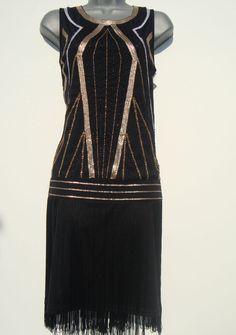 NEW 20s vintage flapper dress size 10 US 6 fringe Gatsby Art Deco sequin tassel #Roman #20s #Cocktail