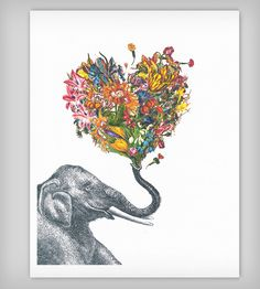 Happy Elephant Art Print by Rococco-la - X-Small Happy Elephant, Elephant Love, Elephant Artwork, Elephant Gifts, Art Amour, Inspiration Art, Oeuvre D'art, Love Art, Art Photography