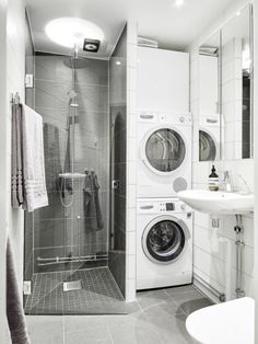 123 Interesting And Detailed Tiny House Bathroom Shower Design Ideas Laundry Bathroom Combo, Tiny House Bathroom, Laundry Room Storage, Laundry Room Design, Downstairs Bathroom, Bathroom Layout, Bathroom Small, Bathroom Ideas, Bathroom Showers
