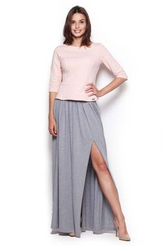 Skirt length maxi with striking a cut at the thigh Grey Maxi Skirts, Maxis, Thighs, Outfits, Fashion, Gray Maxi Skirts, Moda, Suits, Fashion Styles