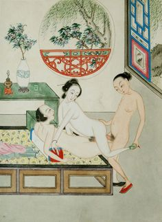 19th century Northern China Pigment on paper mounted on silk. chinese erotic pillow book  page 6