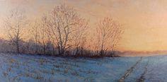 Sunrise Over Winter Fields by Kathleen Kalinowski Oil ~ 12 x 24