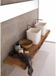 Piano lavabo da bagno in legno massello 150x50x6