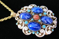 Austro-Hungarian Enamel and Stone Necklace in the Renaissance Revival Style by MaisonettedeMadness