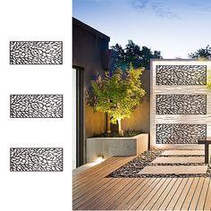 e-Joy 4 ft. H x 2 ft. W Laser Cut Metal Privacy Screen Metal Fence Panels, Garden Fence Panels, Garden Gates, Decorative Fence Panels, Metal Garden Screens, Garden Fence Art, Metal Screen, Modern Backyard, Backyard Patio