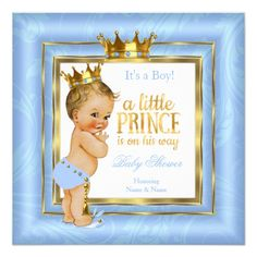 Prince Baby Shower Blue White Gold Crown Blonde