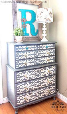 DIY Painted Furniture Makeover - Stenciled Dresser Drawers - Royal Design Studio