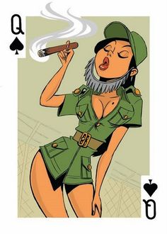 """TrendThing: illustration /// """"54 Intercontinental Cuties"""" pin-up playing card /// by Josh Cooley and Bill Presing"""