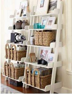 Save space and stay organized with wall shelves and floating shelves from Pottery Barn. Find wood, metal and glass shelves in various styles to complete your space. Deep Shelves, Room Shelves, Leaning Shelves, Pottery Barn, Ladder Shelf Decor, Ladder Shelves, Diy Ladder, Display Shelves, Muebles Living