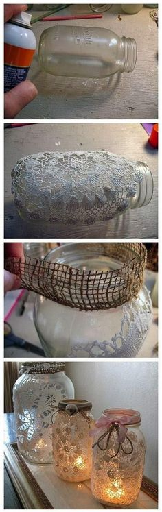 DIY Lanterns: DIY Burlap and Doily Luminaries. For all my extra mason jars and doilies. Mason Jar Projects, Mason Jar Crafts, Mason Jars, Canning Jars, Holiday Crafts, Home Crafts, Fun Crafts, Holiday Decor, Pot Mason Diy