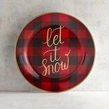 Let It Snow Buffalo Check Salad Plate