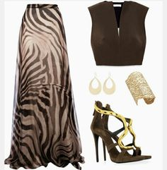 Maxi Skirt Animal Print Heels
