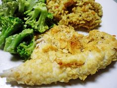 I hate fish but id totally do this w chicken breast! Baked Fish - using salt 'n vinegar chips