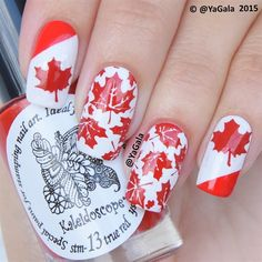 I am presenting before you a collection of Canada Day nails art designs & ideas of Cute Nail Polish, Nail Polish Designs, Nail Art Designs, Bling Nail Art, Glitter Nail Art, Easy Nail Art, Cool Nail Art, Flag Nails, Black Nails With Glitter