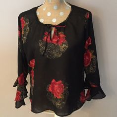 "Beautiful Floral Tunic Sheer tunic with bell sleeves. Approx 21"" from shoulder to hem. Ishyu Tops Blouses"