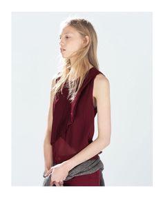 #Zara pleated burgundy top