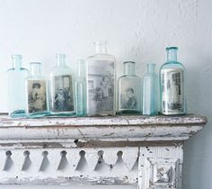 Vintage photos in bottles, so pretty