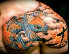 amazing koi fish japanese tattoos on shoulder 300x233 Best Koi Fish Tattoo Ideas