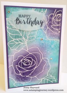 – A Stamping Journey . luv the background treatment . Stampin' Up! Simple Birthday Cards, Handmade Birthday Cards, Happy Birthday Cards, Handmade Cards, Happy Birthday Jenny, Happy Birthday Gorgeous, Flower Stamp, Flower Cards, Scrapbook Expo
