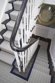Roger oates dart midnight stair runner carpet with mitred landings on dark wood staircase Staircase Runner, Wood Staircase, Staircase Design, Stairs With Carpet Runner, Stairs With Wood And Carpet, Striped Carpet Stairs, Floating Staircase, Spiral Staircases, Interior Stairs