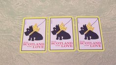 Three single swap playing cards From Scotland with Love scottie dog Scottish terrier by BigGDesigns on Etsy