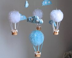 This article is not available - Hot Air Balloon Mobile Blue Balloon Mobile Pom Pom Mobile The Effective Pictures We Offer You About - Bubble Balloons, Blue Balloons, Latex Balloons, Diy Arts And Crafts, Crafts For Kids, Preschool Crafts, Rainbow Centerpiece, Pom Pom Mobile, Boy Nurseries