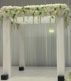 'Serene Opulence' Chuppah - fabric draped Chuppah with hydrangea, rose and wisteria displays on section of chuppah - by www.vivacreativeflowercompany.com (@vivacreativeflowercompany) on Instagram: