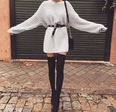 10 Different Ways To Rock Sweaters This Winter Thigh High Boots Outfit, Over The Knee Boot Outfit, Black Thigh High Boots, Retro Outfits, Chic Outfits, Trendy Outfits, Fall Outfits, Fashion Outfits, Fashion Boots