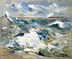 """John Marin, """"Hurricane"""" 1944, one of the 3 most famous watercolorists turned to oil at age 63."""