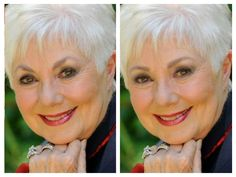 Shirley Jones before & after......... By: Sharon Danley..................... Note the extreme arch in the brow & overly heavy makeup in the before is softened and made more approachable in the after, yet still maintains soft drama.
