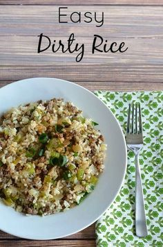 Easy Dirty Rice Recipe Also Known As Rice Dressing - Rice Recipes Dirty Rice Recipe Easy, Easy Rice Recipes, Side Dish Recipes, Great Recipes, Dinner Recipes, Healthy Recipes, Easy Rice Dressing Recipe, Delicious Recipes, Favorite Recipes