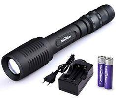 Canwelum Zoom CREE Torche LED Rechargeable, Ultra-lumineux Lampe de Poche LED Propulsé par 2 x batterie et avec Smart 5 mode (Un Ensemble…