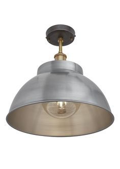 Our stylish Brooklyn Vintage Metal Dome Flush Mount Light by Industville is an antique retro styled lampshade in a light pewter finish. Perfect for urban homes, modern loft conversion flats, bars, restaurants, hotels and cafés.