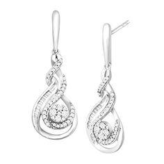 3/8 ct Diamond Swirl Drop Earrings in 10K White Gold