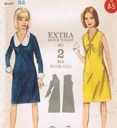 1960s Butterick 3647 UNCUT Vintage Sewing Pattern Misses' Dress Size 12 Bust 32
