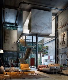 his loft offers a natural ambiance offered by the potted flowers within the loft living space and trees right outside it