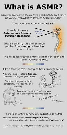 I (HS) love the way this artist illustrated and explained this hard-to-describe sensation. ASMR: An infographic on something I've always had, as my body responds to audio stimuli in a tingling fashion, causing extreme relaxation and tingles Autonomous Sensory Meridian Response, Meditation, Asmr Video, Massage Benefits, News Health, Yoga, Inner Peace, When Someone, Good To Know