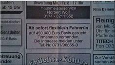 ´The Transporter´oder was? Fahrer auf 450.000 Euro-Basis gesucht! Fundstück des Tages…