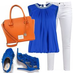 Ecco la mia proposta estiva per un aperitivo e una serata in compagnia! La canotta molto fine in questo blu acceso, il pantalone classico bianco, la scarpa assolutamente col tacco in tono con la canotta e per finire la borsa in contrasto con l'intero outfit!