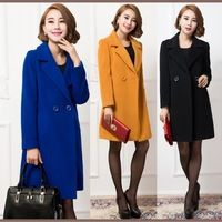 0b48ed50f5cc NEWEST autumn winter slim trench coats for women yellow blue black cashmere  windbreaker fashion womens outerwear