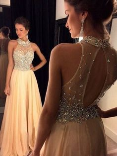 A-Line Scoop Natural Backless Prom Gowns Chiffon Champagne Prom Dresses 39cafc024399