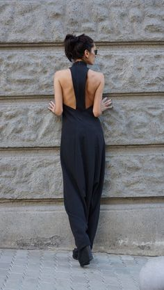 NEW Collection Sexy Black Polyviscose  Drop Crotch Jumpsuit /